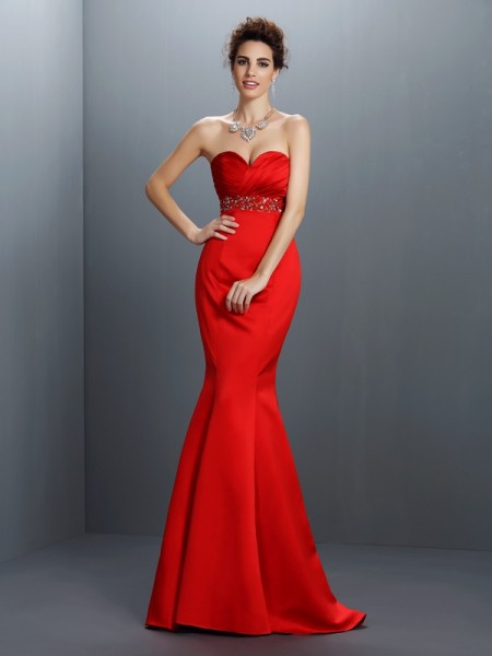 Trumpet/Mermaid Sweetheart Sleeveless Sweep/Brush Train Satin Evening Dresses with Beading