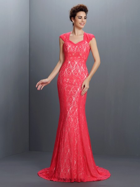 Trumpet/Mermaid V-neck Sleeveless Lace Sweep/Brush Train Lace Evening/Formal Dresses