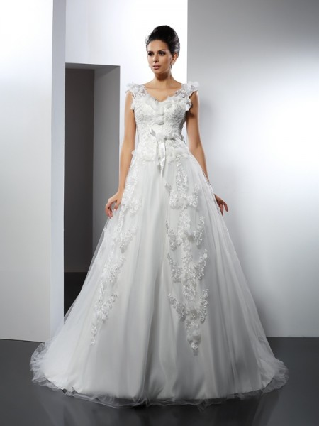 A-Line/Princess Straps Sleeveless Lace Cathedral Train Satin Wedding Dresses