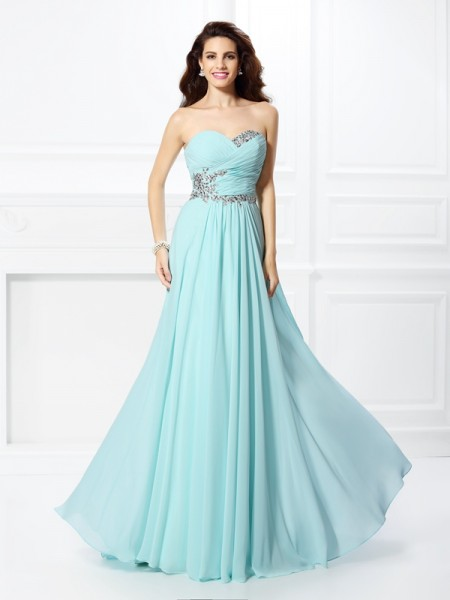 A-Line/Princess Sweetheart Sleeveless Floor-Length Chiffon Prom/Formal Dresses with Beading