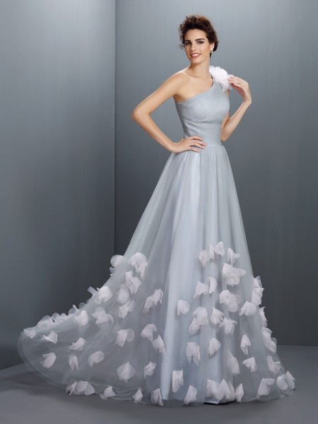 A-Line/Princess One-Shoulder Sleeveless Floor-Length Net Prom/Evening Dresses with Hand-Made Flower