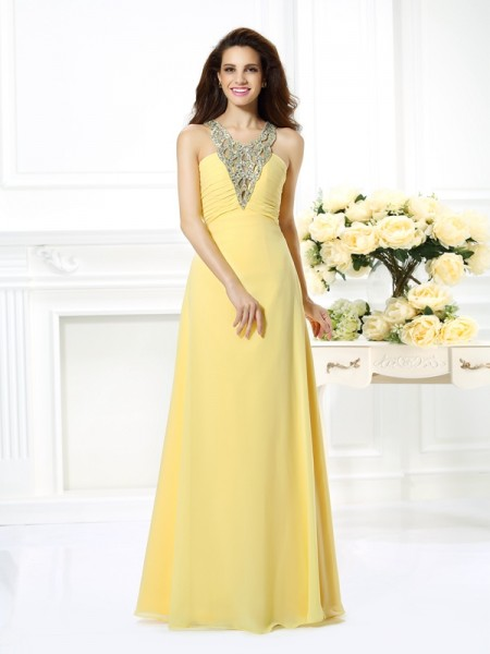 A-Line/Princess V-neck Sleeveless Floor-Length Chiffon Prom/Evening Dresses with Beaded