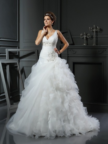 Ball Gown Sleeveless V-neck Court Train Organza Wedding Dresses with Ruffles