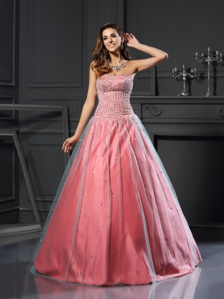 Ball Gown Sleeveless Satin Sweetheart Sleeveless Long Prom Dresses with Beading