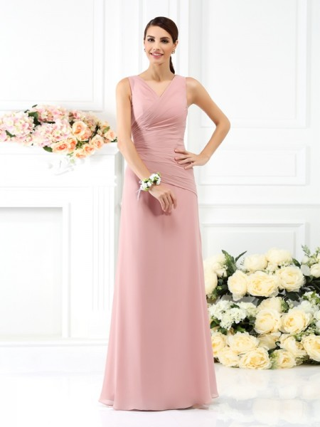 Sheath/Column V-neck Sleeveless Floor-Length Chiffon Bridesmaid Dresses with Pleats