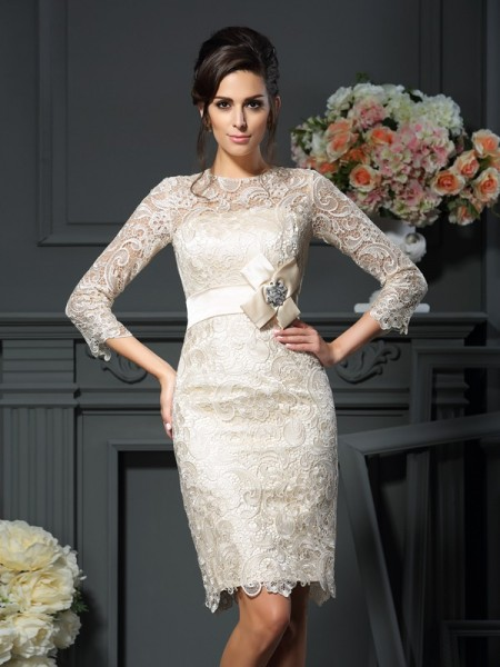 Sheath/Column Scoop Bowknot 3/4 Sleeves Short/Mini Lace Mother of the Bride Dresses