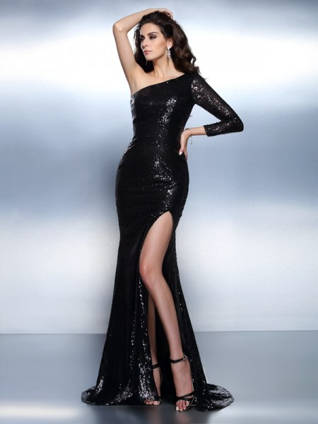 Trumpet/Mermaid One-Shoulder Long Sleeves Paillette Sweep/Brush Train Lace Evening Dresses