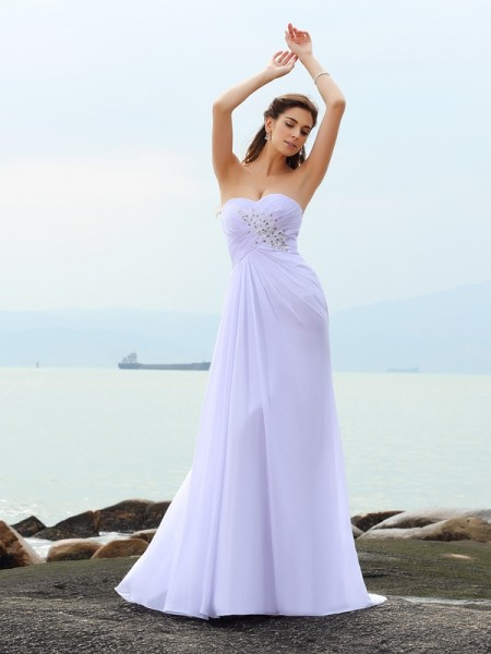 Sheath/Column Sweetheart Sleeveless Chiffon Chapel Train Beach Wedding Dresses with Beading