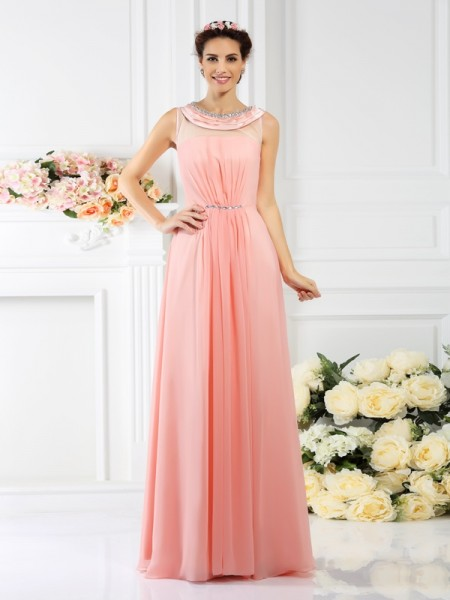 A-Line/Princess Bateau Sleeveless Floor-Length Chiffon Bridesmaid Dresses with Beading