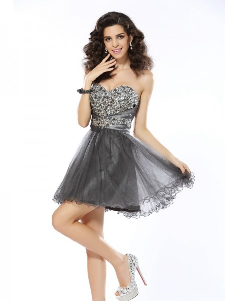 A-Line/Princess Sweetheart Sleeveless Short/Mini Net Dresses with Ruffles