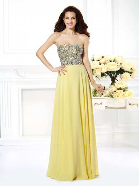 A-Line/Princess Strapless Sleeveless Floor-Length Chiffon Prom Dresses with Beading Rhinestone