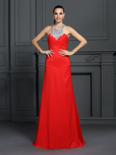 A-Line/Princess High Neck Sleeveless Sweep/Brush Train Elastic Woven Satin Prom/Evening Dresses with Beading