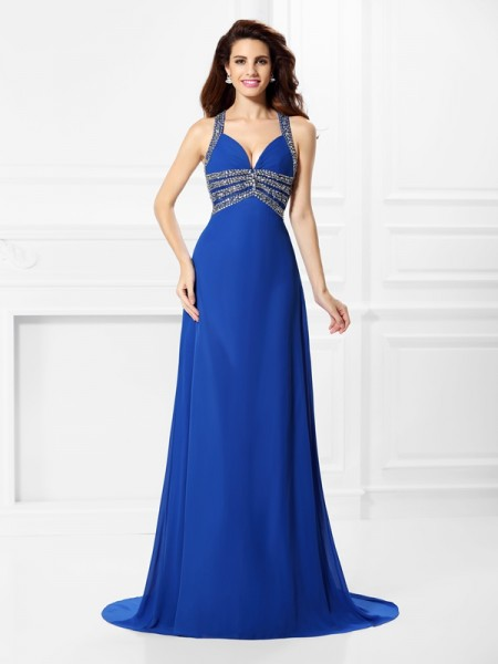 A-Line/Princess V-neck Straps Sleeveless Sweep/Brush Train Chiffon Prom Dresses with Beading