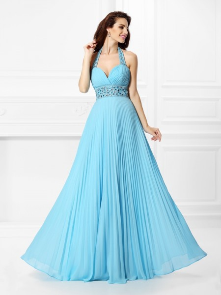A-Line/Princess Halter Sleeveless Floor-Length Chiffon Prom Dresses with Rhinestone