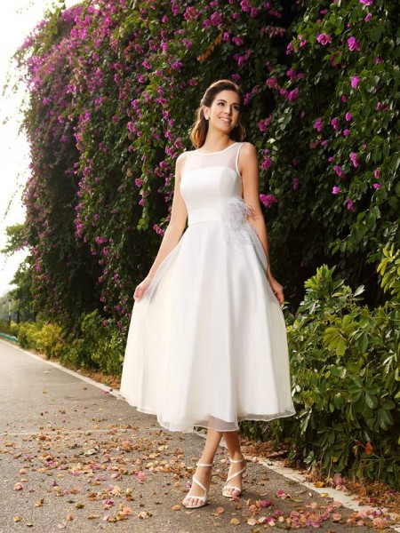 A-Line/Princess Bateau Sleeveless Satin Ankle-Length Wedding Dresses with Sash/Ribbon/Belt
