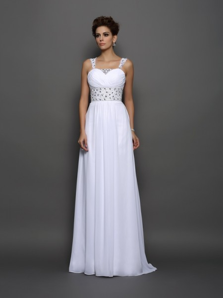 A-Line/Princess Sleeveless Chiffon Straps Court Train Wedding Dresses with Beading