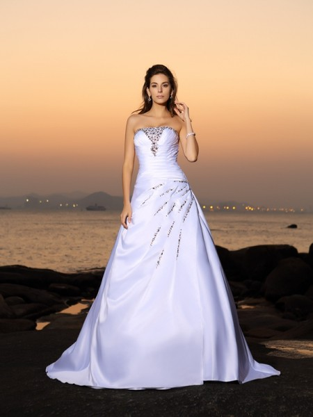 A-Line/Princess Strapless Satin Sleeveless Chapel Train Wedding Dresses with Beading