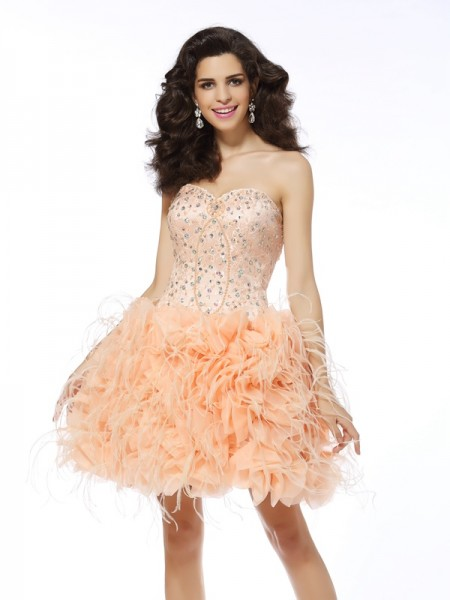 A-Line/Princess Organza Sweetheart Sleeveless Short/Mini Dresses with Beading