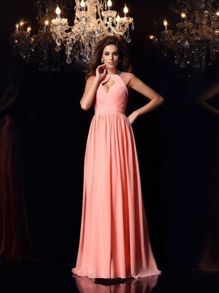 A-Line/Princess Sleeveless Chiffon Scoop Sweep/Brush Train Dresses with Beading