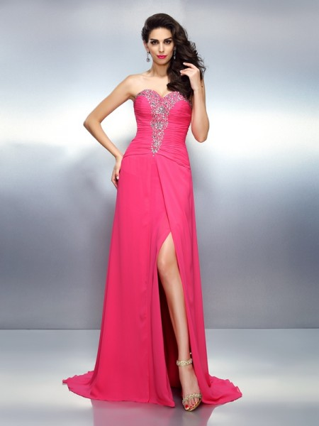 A-Line/Princess Sweetheart Sleeveless Sweep/Brush Train Chiffon Prom/Evening Dresses with Beaded