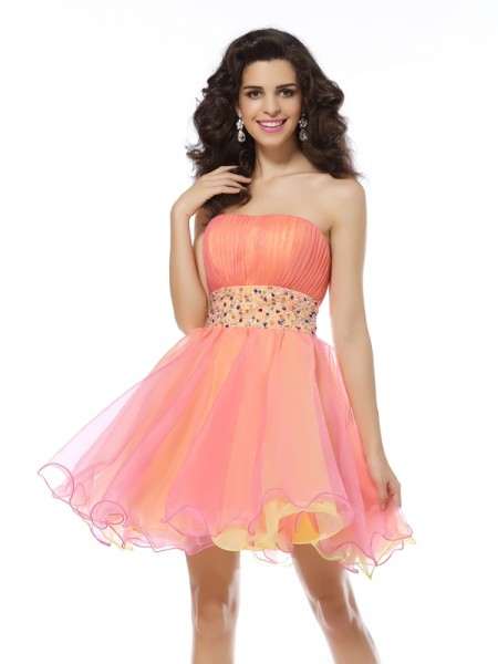 A-Line/Princess Strapless Sleeveless Organza Short/Mini Dresses with Beading