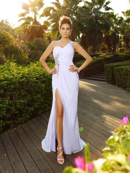 A-Line/Princess One-Shoulder Sleeveless Court Train Chiffon Wedding Dresses with Beaded