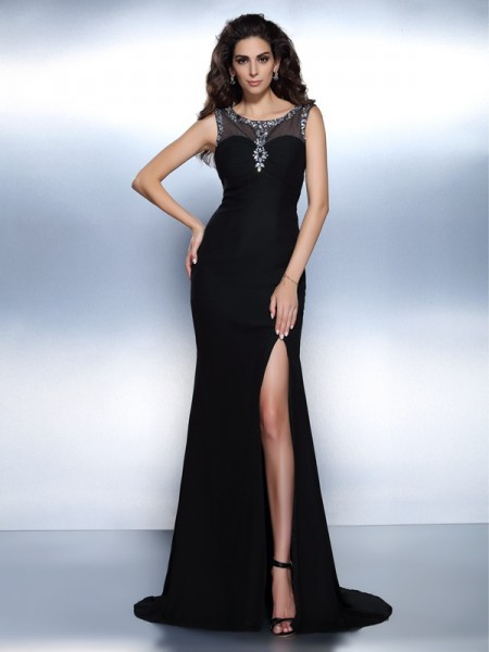 Trumpet/Mermaid Bateau Sleeveless Sweep/Brush Train Chiffon Evening Dresses with Beading
