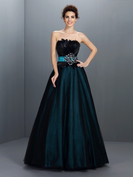 Ball Gown Strapless Sleeveless Feathers/Fur Floor-Length Elastic Woven Satin Prom Dresses