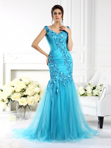 Trumpet/Mermaid Straps Sleeveless Sweep/Brush Train Silk like Satin Prom/Evening Dresses with Applique