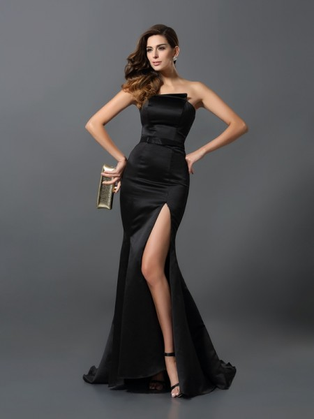 Sheath/Column Strapless Sleeveless Satin Long Evening Dresses with Sash/Ribbon/Belt