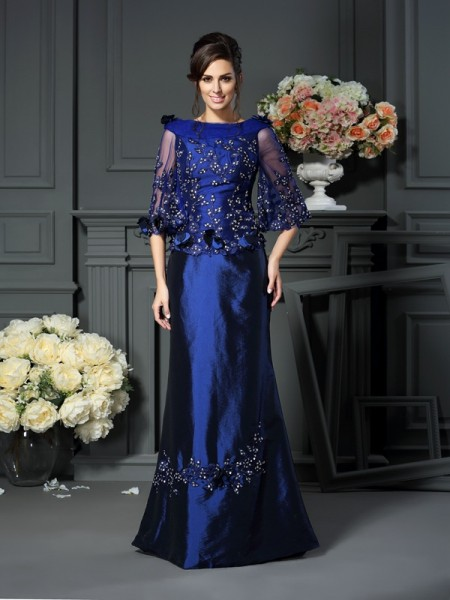 A-Line/Princess Scoop 1/2 Sleeves Floor-Length Taffeta Mother of the Bride Dresses with Beading