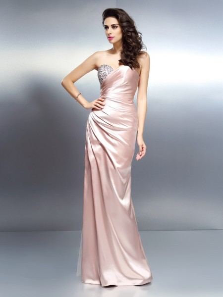 Trumpet/Mermaid Sweetheart Sleeveless Floor-Length Elastic Woven Satin Dresses with Beading
