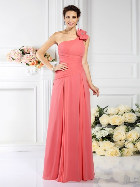 One-Shoulder Chiffon Long Bridesmaid Dresses with Pleats