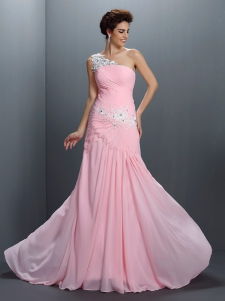 A-Line/Princess One-Shoulder Sleeveless Floor-Length Chiffon Dresses with Applique with Beading