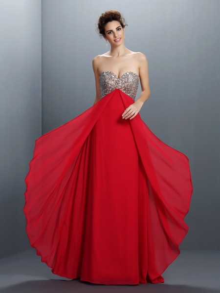 A-Line/Princess Sweetheart Sleeveless Paillette Floor-Length Chiffon Dresses with Beading