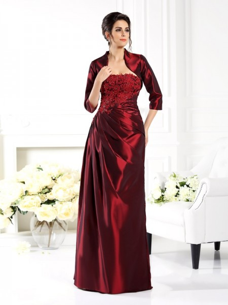 A-Line/Princess Strapless 1/2 Sleeves Floor-Length Taffeta Mother of the Bride Dresses with Applique