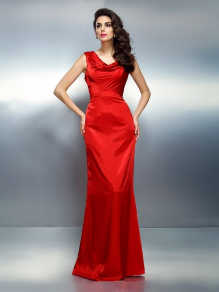 Trumpet/Mermaid V-neck Sleeveless Floor-Length Silk like Satin Evening/Formal Dresses