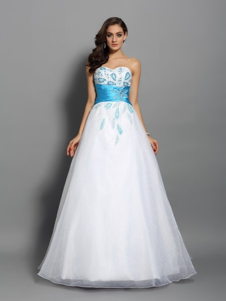 Ball Gown Sweetheart Sleeveless Floor-Length Satin Prom Dresses with Beading