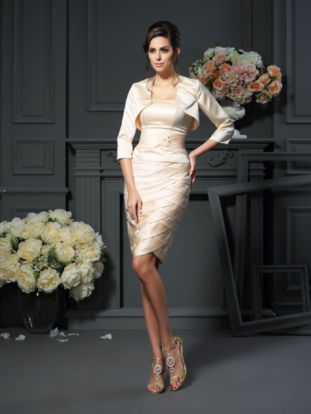 Sheath/Column Strapless Sleeveless Knee-Length Satin Mother of the Bride Dresses with Pleats
