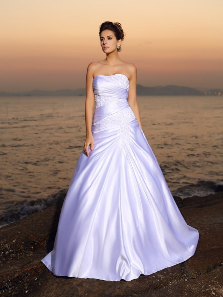 Ball Gown Strapless Satin Sleeveless Court Train Wedding Dresses with Applique with Beading