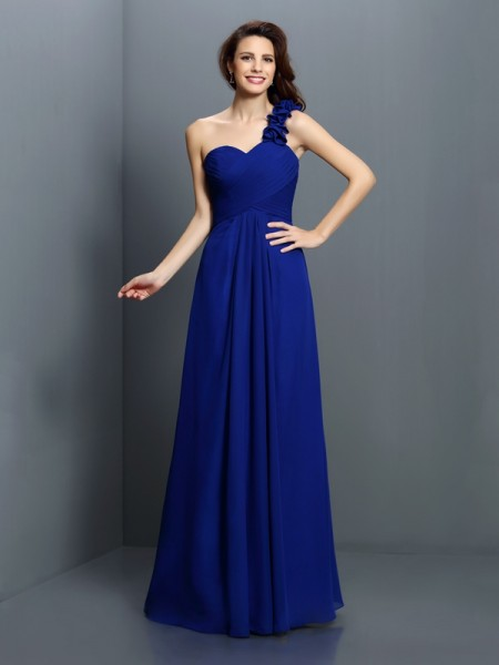 A-Line One-Shoulder Chiffon Bridesmaid Dresses with Hand-Made Flower