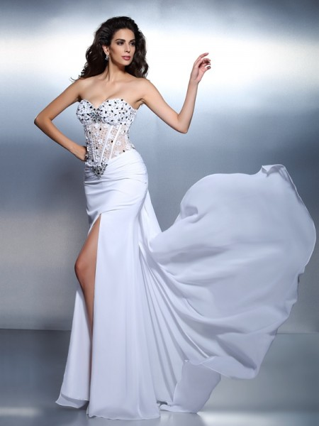 Trumpet/Mermaid Sweetheart Sleeveless Floor-Length Chiffon Prom/Evening Dresses with Pleats