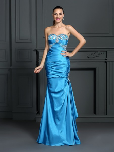 Trumpet/Mermaid Sweetheart Sleeveless Floor-Length Elastic Woven Satin Prom/Evening Dresses with Beading