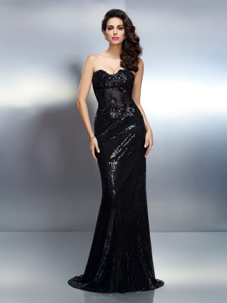 Trumpet/Mermaid Sweetheart Sleeveless Sweep/Brush Train Lace Evening Dresses with Applique
