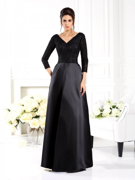 A-Line/Princess V-neck 3/4 Sleeves Floor-Length Satin Mother of the Bride Dresses with Beading