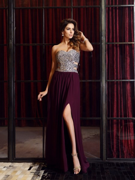 A-Line/Princess Sleeveless Chiffon Sweetheart Sweep/Brush Train Prom/Evening Dresses with Beading