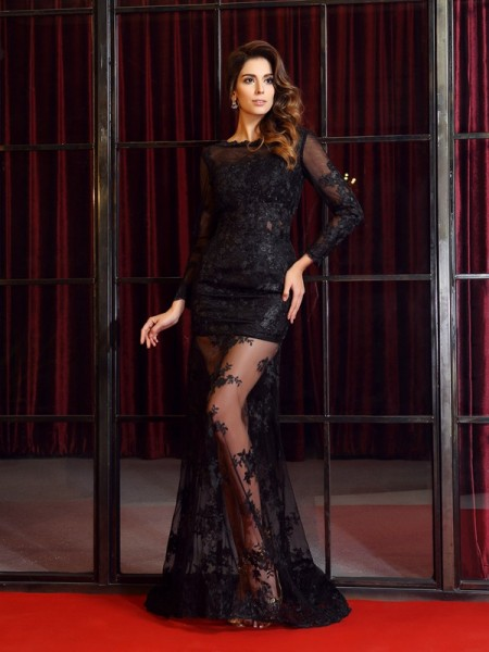Trumpet/Mermaid Long Sleeves Bateau Lace Sweep/Brush Train Prom/Evening Dresses with Applique