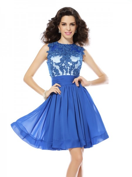 A-Line/Princess Scoop Sleeveless Chiffon Short Cocktail/Homecoming Dresses with Applique