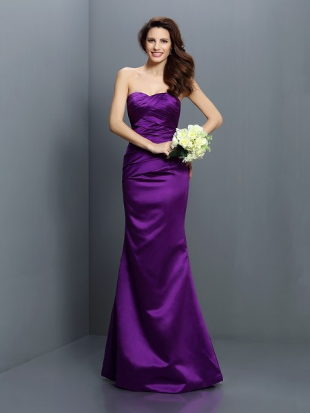 Mermaid Strapless Sleeveless Floor-Length Satin Bridesmaid Dresses with Pleats
