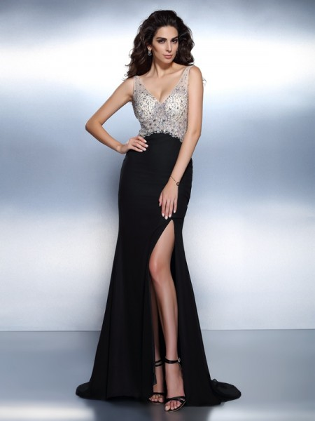 Trumpet/Mermaid V-neck Sleeveless Sweep/Brush Train Chiffon Prom/Evening Dresses with Beading